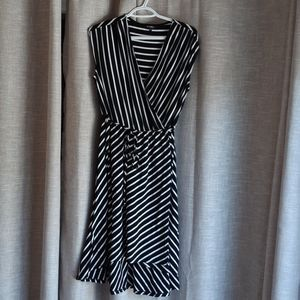 Womans Striped Faux Wrap Dress 1X